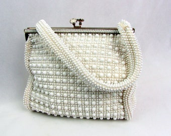 Vintage White Beaded Handbag ~ Lumered Corde Bead ~ 1950s ~ Kiss Clasp ~ Purse ~ Lining