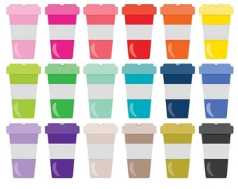 Colorful Coffee Cups Stickers