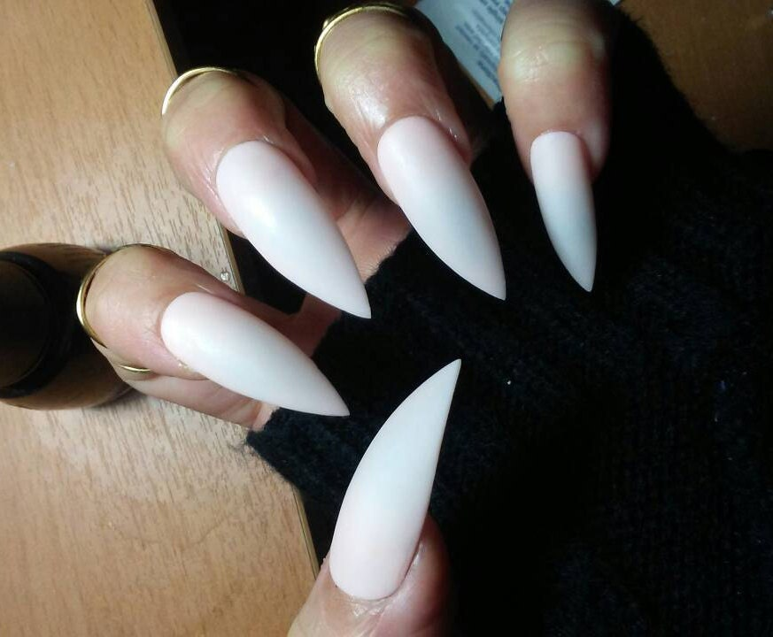 Nude Matte Stiletto Nails, Long or Short, Acrylic Press on Glue on ...