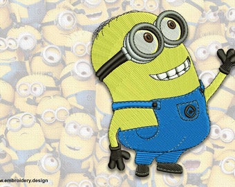 Curious minion Dave embroidery design  - downloadable - 2 sizes