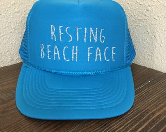 Resting Beach Face Trucker Hat Beach River Hawaii Tropical Vacation Vacay Mode Women's