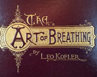 Beautiful Vintage Book Cover for Crafting -- The Art of Breathing