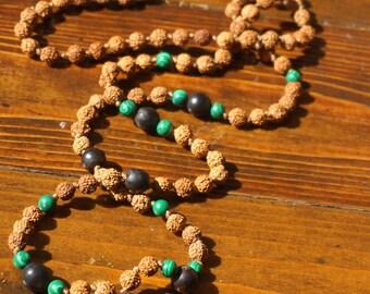 Rudraksha Meditation Mala, 108 Japa Mala Beads,Authentic Quality Rudraksha seeds with Malachite and Chambimbe for Mantra Sadhana, Protection
