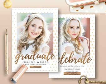 Senior Announcement Card Template,Graduation Invitation, High School Graduation Invitation Card, Senior Announcement Card - INSTANT DOWNLOAD