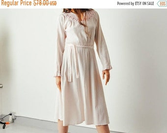ON SALE - Vintage Pink Crochet & Gauze Dress