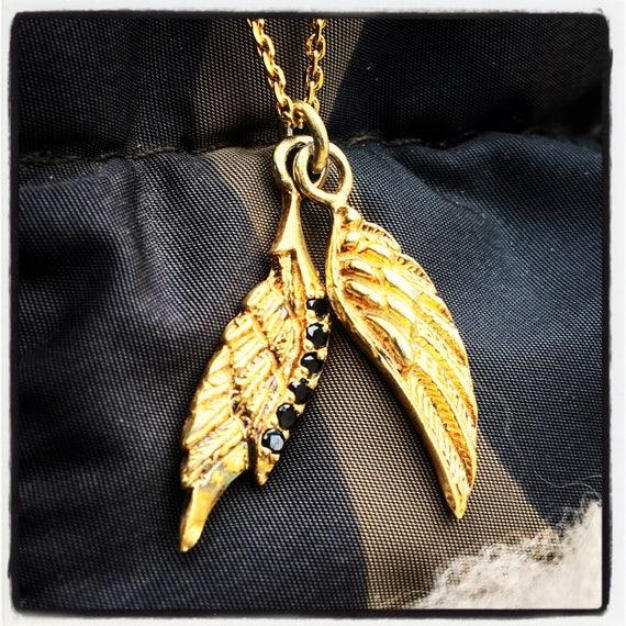 Etherial Jewelry - Rock Chic Talisman Luxury Biker Custom Handmade Artisan Pure Sterling Silver .925 Wings Pendant with Black Onyx Gemstones