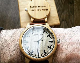 Wood watch, Paul Ven Liberty ORIGINAL wood watch, engraved wood watch, personalised wood watch, man watch, man gift, engrave your message