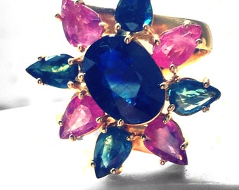 Pink and blue natural sapphire gold ring