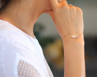 Delicate Crystal Leaf Pave Accent Cuff Bracelet - Available in Gold and Silver