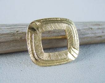 Vintage Gold Engraved Square Brooch Mid Century