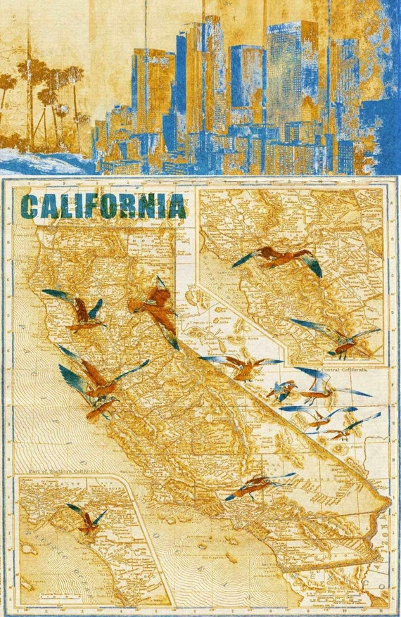 California Vintage Map. Abstract World Map. Large Canvas Wall Art for Home. Home Decor. Map on wood. Wall Decor by Irena Orlov.