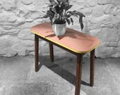 Vintage Formica Side Table Mid Century Kitsch Red Yellow