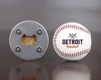 Tigers | Bottle Opener made from a Real Baseball | Tigers Baseball | Detroit Tigers