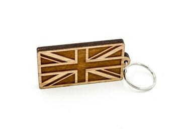 British Flag Keychain - Union Jack Flag Carved Wood Key Ring - UK Flag Wooden Engraved Charm