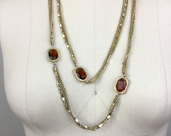 Vintage Gold Chain and Amber Long Convertible Flapper Necklace