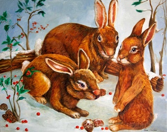 Rabbits in Snow - Winter Scene Painting - Seasonal Art Print - Canvas or Paper Print