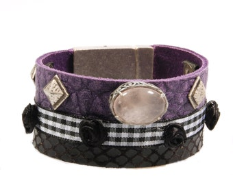 Leather cuff bracelet purple and black with rose quartz - bohemian bracelet in gypsy style - handmade jewelry one of a kind gift woman