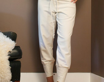 cotton lounge pants in french terry with drawstring and cuffs - made to order