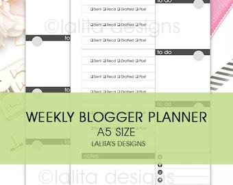 Filofax Kikki K Printable Weekly Blogger Planner Insert A5 Size