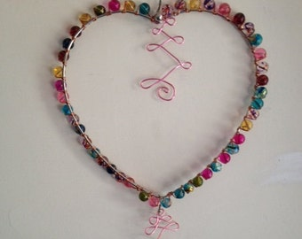 Heart shaped sun catcher with pink abstract wires, one of a kind, bohemian art