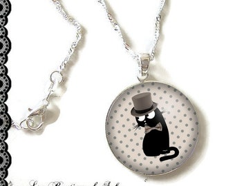 925 Sterling Silver Chain: 25 mm cabochon necklace * cat * (090218)