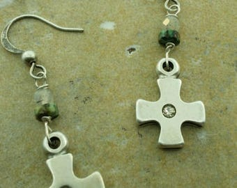 Silver cross with small rhinestone earrings
