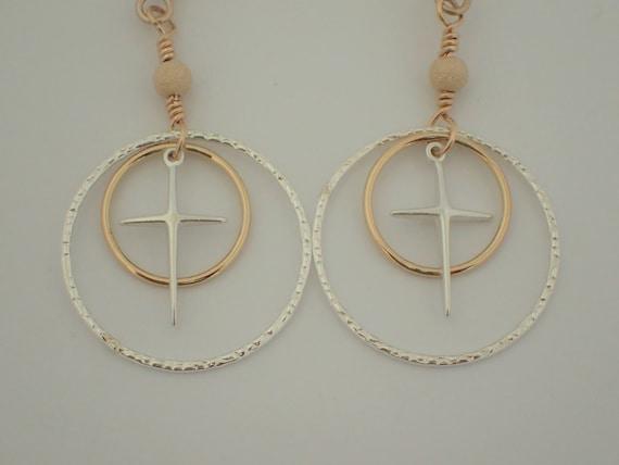 Cross Earrings,  14k Yellow Gold Filled & Sterling Silver