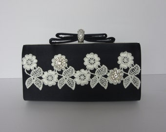 Cream and navy clutch bag, navy bag with cream applique and diamante added