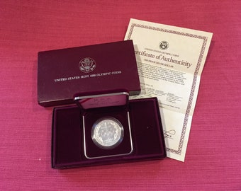 1988 US Mint Olympic Silver Dollar Coin Proof