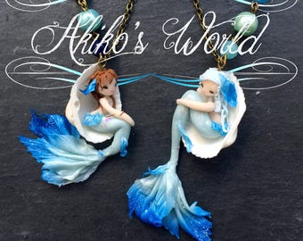 Your very own custom mermaid necklace - Kawaii jewelry made out of polymer clay- Stainless chain- Gift for her - Woman pendant