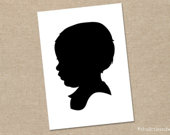 Custom Digital Silhouette Portrait for One Child or Adult // 5x7 or 8x10