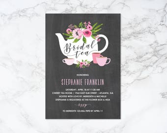 Printable Watercolor Floral and Chalkboard Theme Bridal Tea Shower Invitation