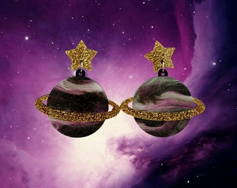 Saturn Dangles, Planet earrings, planet dangles, saturn earrings, space earrings, space dangles
