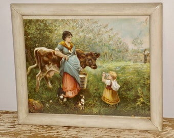 Framed Milk Maid print,famous paintings Europe,farm country,distressed,farmhouse kitchen,rustic kitchen,dairy maid,milkmaid,cow print,12x10