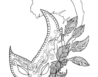Mardi Gras Adult Coloring Book Digital Download Downloadable Pages Mask Theme Masquerade