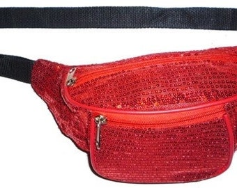 Red Sequin Fabric Fanny Pack