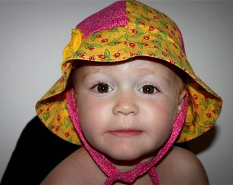 INSTANT DOWNLOAD Reversible Sun Hat for Baby with ties PDF Sewing Pattern By Hadley Grace Designs - Includes Sizes Newborn to 2T