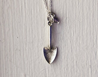 Shovel Necklace- Custom Birthstone Color- 925 Sterling Silver or Silver Tone Chain- Funny Clever Unique Eccentric Gifts