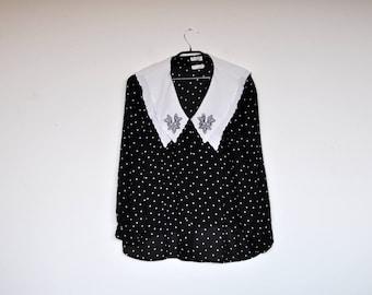Vintage Oversized Black and White Polka Dot Semi Sheer Sailor Collar Blouse