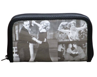 Medium zip wallet using retro images - FREE SHIPPING, gift for her, vegan wallet, Upcycle wallet Card zipper wallet, Mom gift