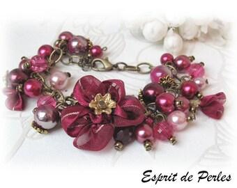 Designer bracelet Burgundy and pink watercolor 'Subtle fabrics' Chic