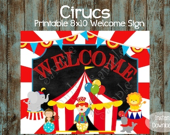 Circus Welcome Sign, Circus Birthday Sign, Circus Birthday Party, Circus Party Sign, Circus Party Decorations, Carnival Welcome sign