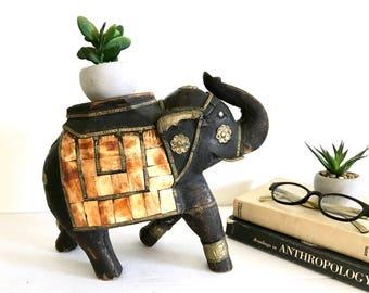 Large Vintage Wood Indian Elephant Statue - Figurine - Black - Gold - Jaipur - Boho - Mid Century - Plant Stand - Candle / jewelry display