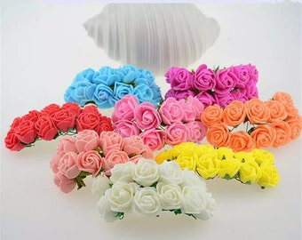 set of 12 polyester flowers in different colors