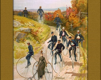 Poster, Many Sizes Available; Bicycling, A Ca. 1887 Color Print