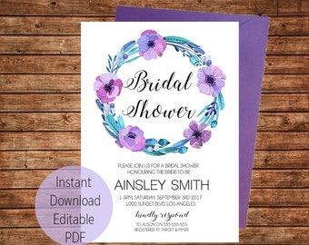Bridal Shower Invitation / Kitchen Tea / Instant Download / Editable PDF