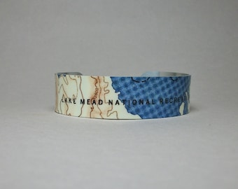 Lake Mead Nevada Map Cuff Bracelet Narrow Unique Gift for Men or Women