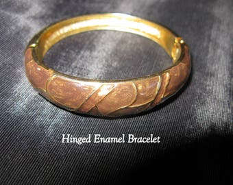 Vintage Hinged bracelet, brown bracelets, enamel jewelry 80s bracelets bangle cuff
