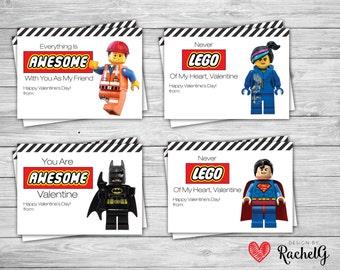 Lego Valentine's Day Cards - DIY Valentines - Batman, Superman, Wyldstyle, Emmet, Lego Movie - Valentine Printable