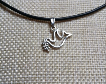 Peace Dove with Olive Branch on a choker. Peace Dove jewellery. Perfect gift or treat. Comes with a free gift bag.